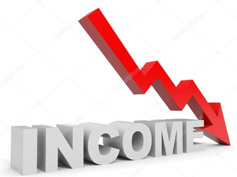 down income arrow